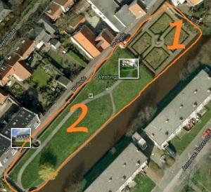1 = de kruidentuin 2 = de rest van het Vestingsplantsoen, waar de beoogde gezamenlijke voedseltuin gaat komen