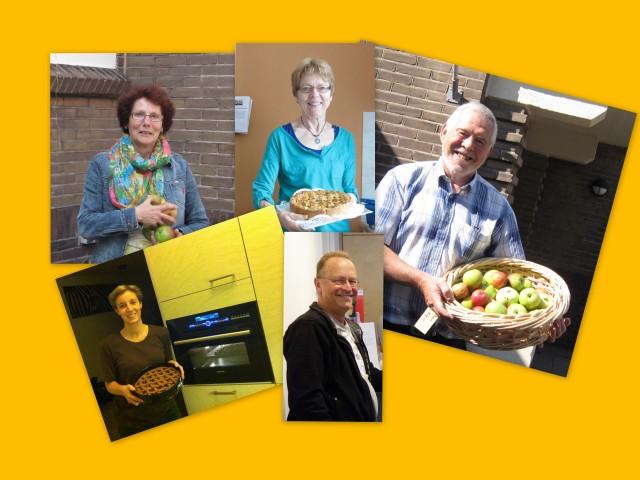 Tonnie, Geke, Herman, Dyana en Willem en anderen hebben taart gebakken met IJsselsteinse appels, geplukt door vrijwilligers.