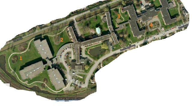 Google map van Marienstein, vanuit de lucht gezien. Er zijn 4 plekken waarvan de mogelijkheden voor een eetbare tuin bekeken worden.