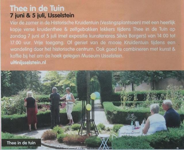 Thee in de Tuin - 7 juni & 5 juli (en 2 augustus) in IJsselstein, de Historische Kruidentuin in het Vestingsplantsoen langs de Walkade