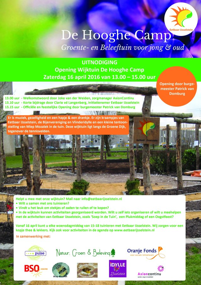 Uitnodiging opening wijktuin Hooghe Camp