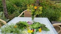 Oogst van vandaag en een bosje bloemen uit de tuin. Op de achtergrond de Japanse Wijnbes.